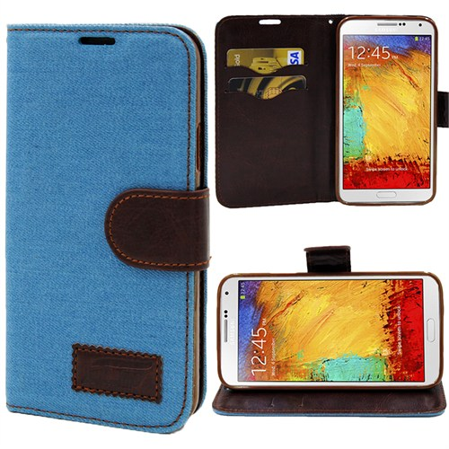Markaawm Samsung Galaxy Note 3 Kılıf Cüzdanlı Standlı Kot