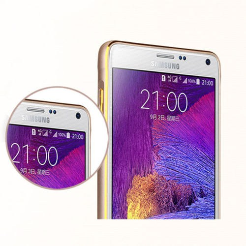 Markaawm Samsung Galaxy Note 4 Kılıf Bumper Metal Çerçeve
