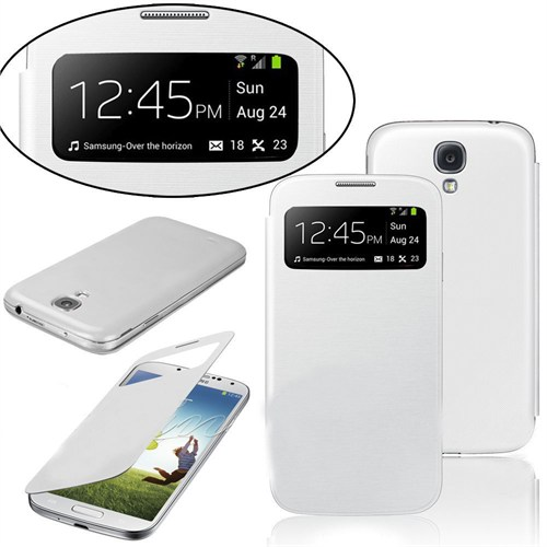 Markaawm Samsung Galaxsy S4 Kılıf Flip Cover Camlı Uyku Modlu