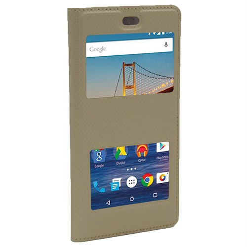 Markaawm General Mobile 4G Android One Kılıf Deri Pencereli
