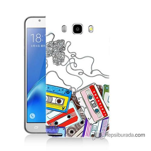 Teknomeg Samsung J7 2016 Kapak Kılıf Kasetler Baskılı Silikon