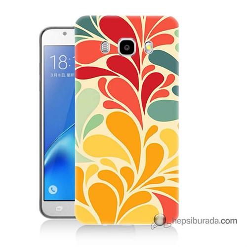 Teknomeg Samsung J7 2016 Kapak Kılıf Çiçekler Baskılı Silikon