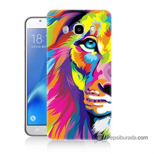Teknomeg Samsung J7 2016 Kılıf Kapak Renkli Aslan Baskılı Silikon