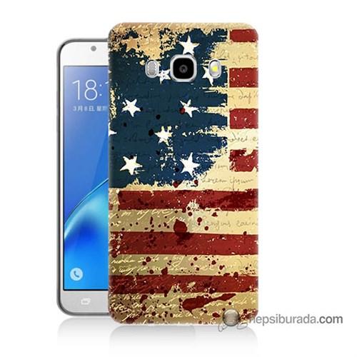 Teknomeg Samsung J7 2016 Kılıf Kapak Amerika Bayrağı Baskılı Silikon
