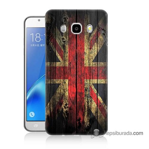 Teknomeg Samsung J7 2016 Kapak Kılıf İngiliz Bayrağı Baskılı Silikon