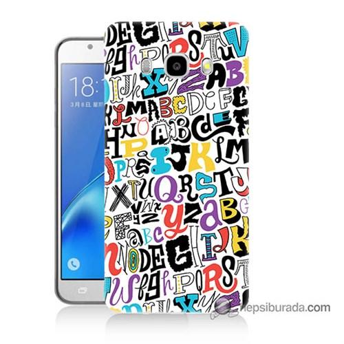 Teknomeg Samsung J7 2016 Kılıf Kapak Renkli Harfler Baskılı Silikon