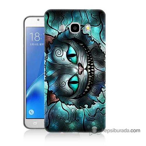Teknomeg Samsung J7 2016 Kapak Kılıf Alice Kedi Baskılı Silikon