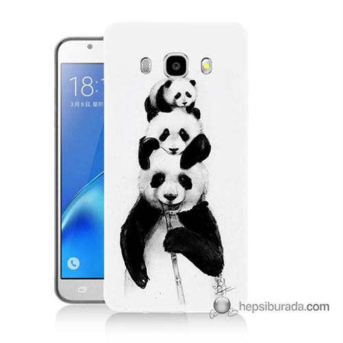Teknomeg Samsung J7 2016 Kapak Kılıf Panda Ailesi Baskılı Silikon