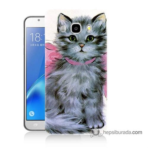 Teknomeg Samsung J7 2016 Kılıf Kapak Papyonlu Kedi Baskılı Silikon