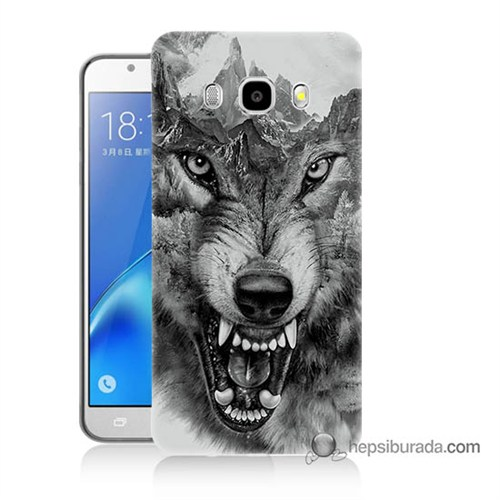 Teknomeg Samsung J7 2016 Kapak Kılıf Kızgın Kurt Baskılı Silikon