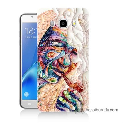 Teknomeg Samsung J7 2016 Kılıf Kapak Kağıt Sanatı Baskılı Silikon