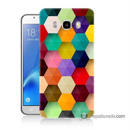 Teknomeg Samsung J7 2016 Kapak Kılıf Renkli Petek Baskılı Silikon