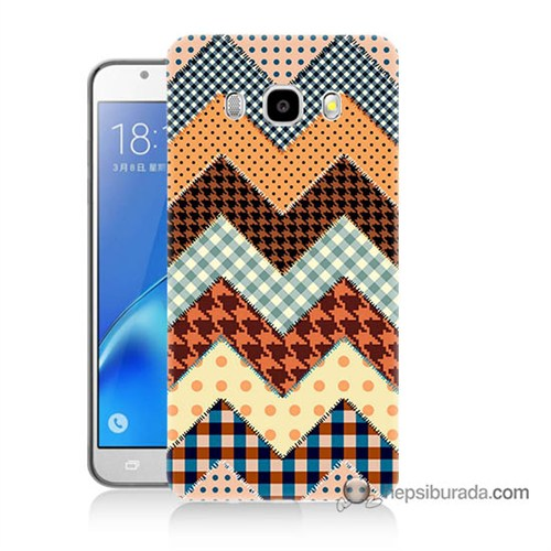 Teknomeg Samsung J7 2016 Kapak Kılıf Patchwork Baskılı Silikon