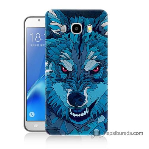 Teknomeg Samsung J7 2016 Kılıf Kapak Mavi Kurt Baskılı Silikon