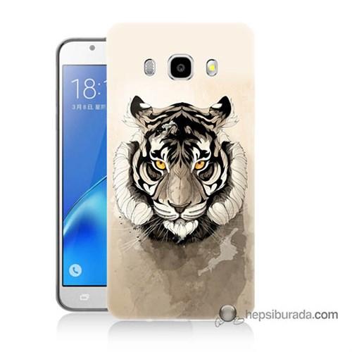 Teknomeg Samsung J7 2016 Kapak Kılıf Beyaz Aslan Baskılı Silikon
