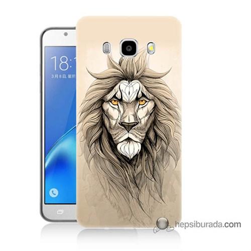 Teknomeg Samsung J7 2016 Kılıf Kapak Beyaz Aslan Baskılı Silikon