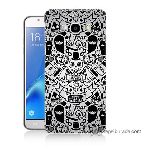 Teknomeg Samsung J7 2016 Kılıf Kapak Karikatür Baskılı Silikon