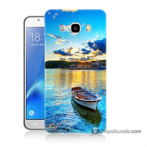 Teknomeg Samsung J7 2016 Kılıf Kapak Gün Batımında Deniz Baskılı Silikon