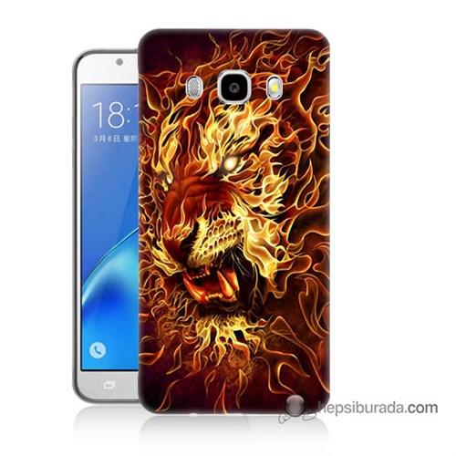 Teknomeg Samsung J7 2016 Kılıf Kapak Ateşli Aslan Baskılı Silikon