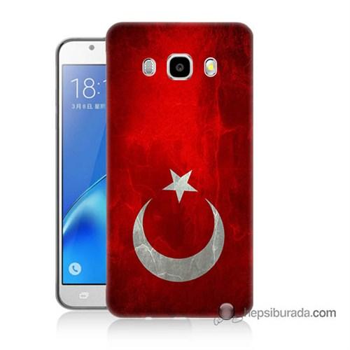 Teknomeg Samsung J7 2016 Kılıf Kapak Türkiye Bayrağı Baskılı Silikon