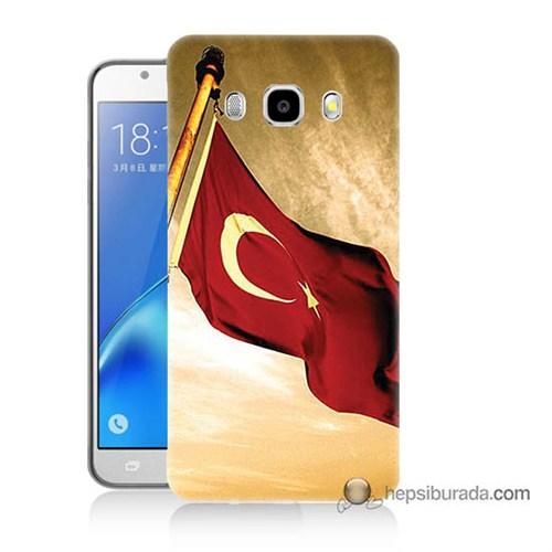 Teknomeg Samsung J7 2016 Kılıf Kapak Türk Bayrağı Baskılı Silikon