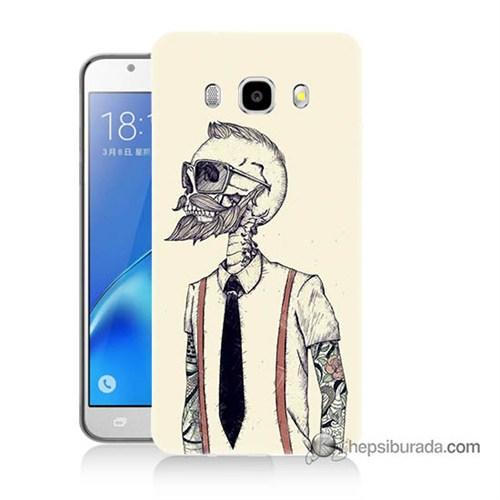 Teknomeg Samsung J7 2016 Kapak Kılıf Dövmeli İskelet Baskılı Silikon