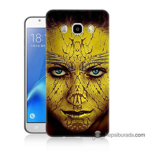 Teknomeg Samsung J7 2016 Kapak Kılıf Sarı Kız Baskılı Silikon
