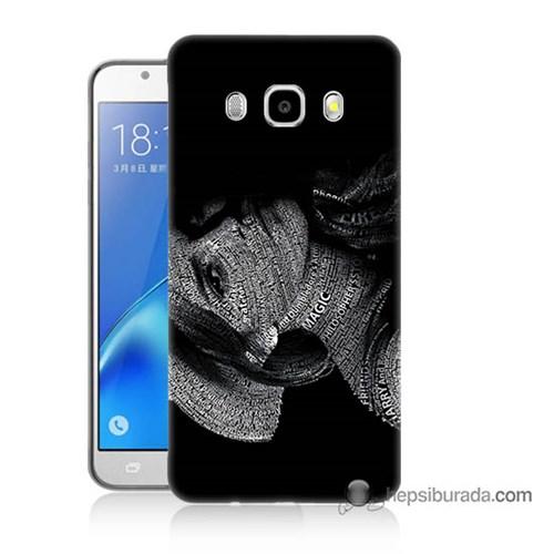 Teknomeg Samsung J7 2016 Kılıf Kapak Yazılı Kadın Baskılı Silikon