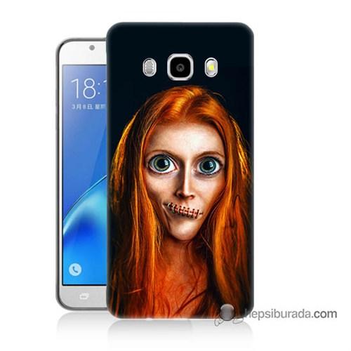 Teknomeg Samsung J7 2016 Kılıf Kapak Zombie Kız Baskılı Silikon