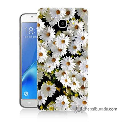 Teknomeg Samsung J7 2016 Kılıf Kapak Papatyalar Baskılı Silikon