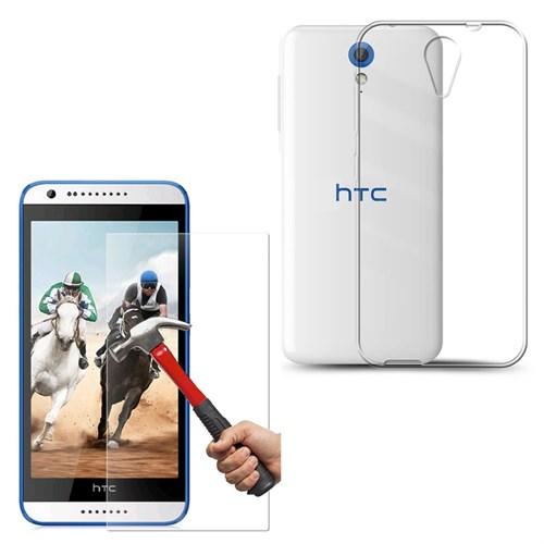 Melefoni Htc Desire 620 Silikon Kılıf Cam Ekran Koruyucu Hediyeli