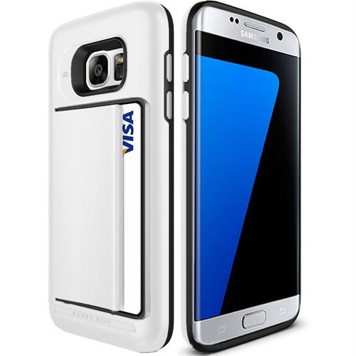 Microsonic Samsung Galaxy S7 Edge Kılıf Kredi Kartlıklı Cüzdanlı Armor Beyaz