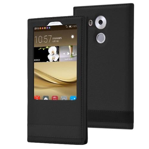 Microsonic Huawei Mate 8 Kılıf Gizli Mıknatıslı View Delux Siyah