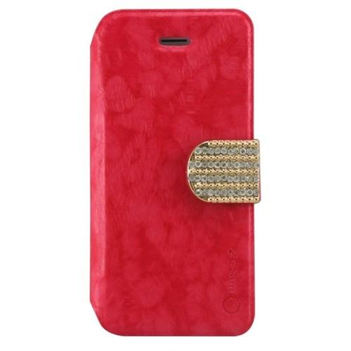 Teleplus İphone 5S Kırmızı Taşlı Kılıf Cüzdanlı