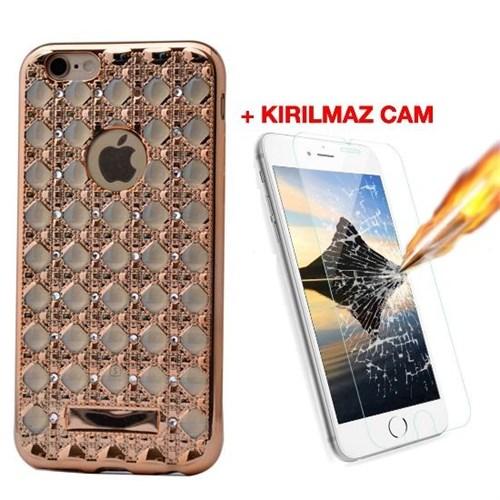 Teleplus İphone 6S Taşlı Desenli Silikon Kılıf Gold + Kırılmaz Cam