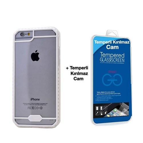 Teleplus İphone 6S Desenli Silikon Kılıf Beyaz + Temperli Kırılmaz Cam