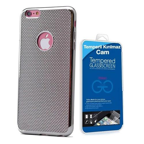 Teleplus İphone 6 Plus Plastik Ve Silikon Karışımı Kılıf Gümüş + Temperli Kırılmaz Cam
