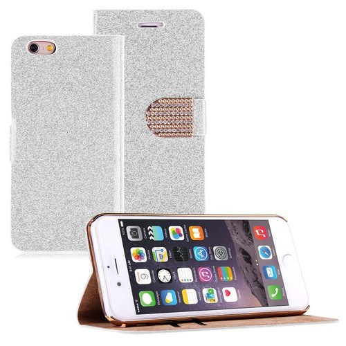 Teleplus İphone 6 Cüzdanlı Taşlı Kılıf Beyaz