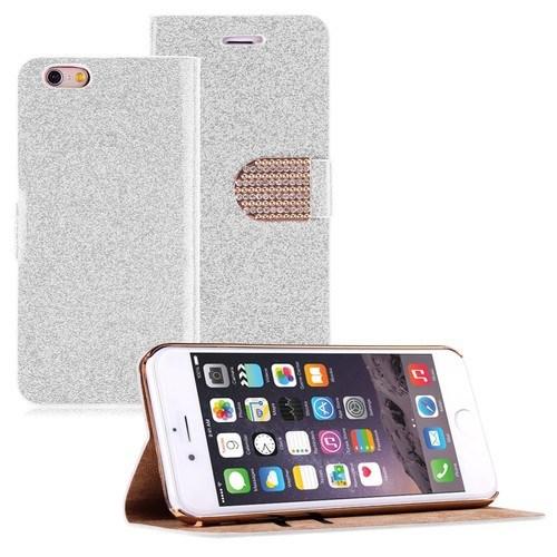 Teleplus İphone 6 Plus Cüzdanlı Taşlı Kılıf Beyaz