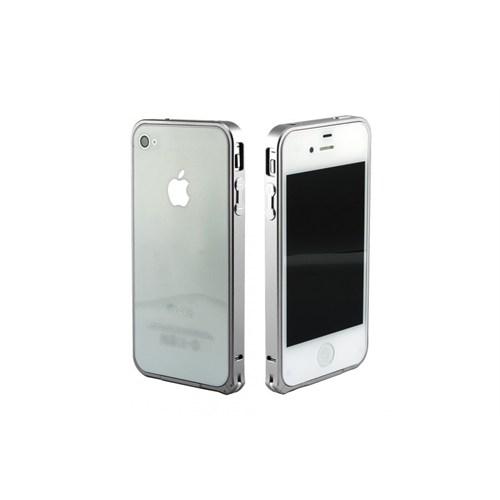 Teleplus İphone 4S Çerçeve Kenarlık Metal Gümüş Renk