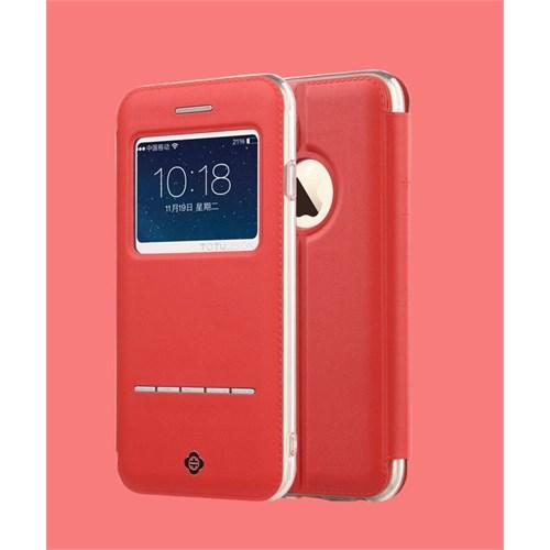 Teleplus İphone 6S Sensörlü Pencereli Kılıf Kırmızı