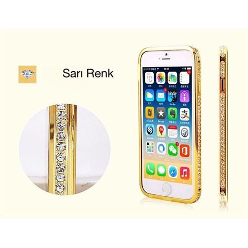 Teleplus İphone 6 Plus Özel Taşlı Metal Çerçeveli Kılıf Sarı