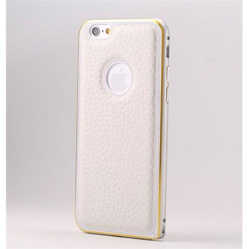 Teleplus İphone 6 Plus Derili Metal Çerçeveli Kılıf Beyaz