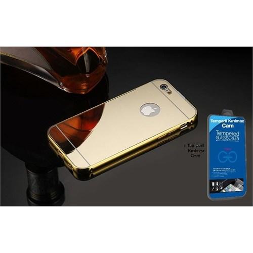 Teleplus İphone 6S Plus Aynalı Kapak Gold + Kırılmaz Cam