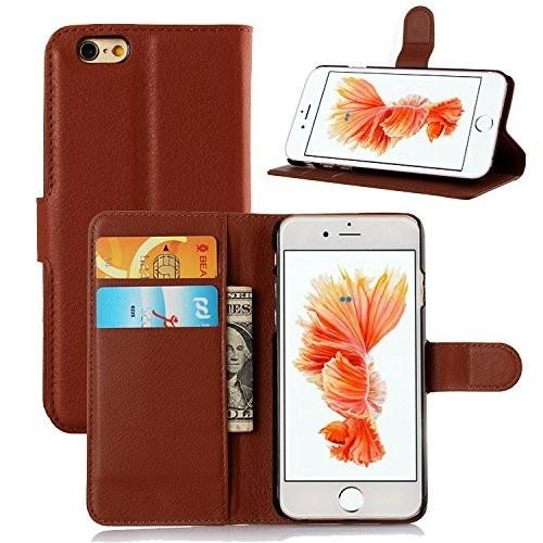 Teleplus İphone 6S Cüzdanlı Standlı Kılıf Kahverengi