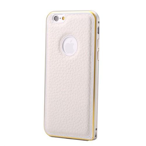 Teleplus İphone 6S Plus Derili Metal Çerçeveli Kılıf Beyaz