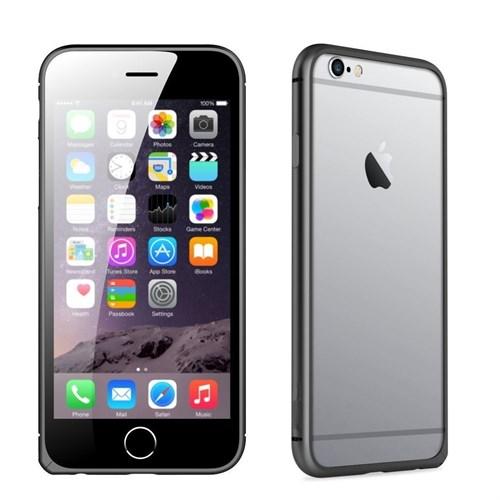 Teleplus İphone 6S Plus Çerçeve Kenarlık Metal Kılıf Siyah