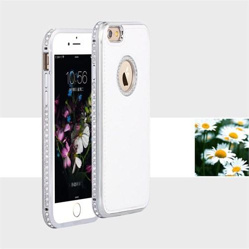 Teleplus İphone 6 Taşlı Derili Metal Çerçeveli Kılıf Beyaz