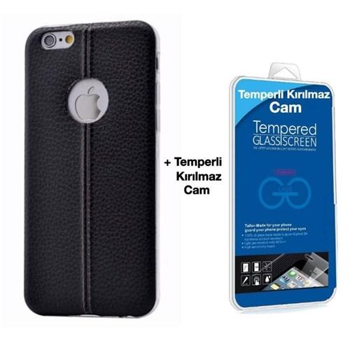 Teleplus İphone 6S Plus Dikişli Silikon Kılıf Siyah + Kırılmaz Cam