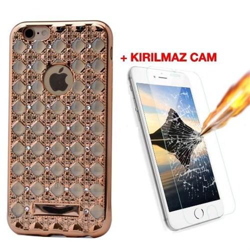 Teleplus İphone 6S Plus Taşlı Desenli Silikon Kılıf Gold + Kırılmaz Cam